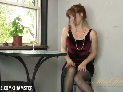 Amber Dawn pleasures herself wearing thigh highs.