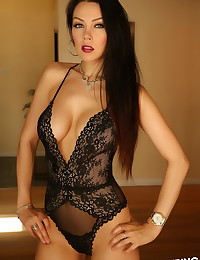 Stunning Alluring Vixen babe Erika G teases with her big perfect boobs in her sexy lingerie
