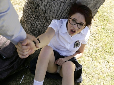 Cadey Mercury gets ready for school with makeup and her uniform, but as she's on her way out the door she runs into her stepdad Marcus London. He warns her that if he catches her fucking off instead of going to school one more time, he'll put a leash and collar on her and walk her home. Cadey doesn't heed Marcus's warning, and that same day she sits under a tree with her miniskirt hiked up and a cigarette in her mouth. When Marcus catches her, he makes good on his promise. When Cadey won't walk with the leash, he makes her crawl.When they finally get home, Marcus puts Cadey over his knee and spanks her until she reveals that she's misbehaving for a boy. When Marcus realizes that his rough treatment is turning Cadey on, though, she manages to turn the tables on him. Pulling out his hard dick, Cadey opens her mouth for a deep throat BJ while Marcus controls her with the leash. Once she's naked, he leads her to the couch and feasts on her landing strip fuck hole before taking her. On her hands and knees, Cadey moans her excitement as Marcus takes her from behind while slapping her perky titties. Then he switches positions so that she is sitting on his lap as he pistons into her greedy twat and holds her there until she starts moving with his strokes. Flipping her onto her back, Marcus slams balls deep into Cadey's creamy snatch until she's screaming her passion. Moments before he cums, he pulls out to cover Cadey's mound in jizz. Only then does Cadey promise to be good.