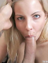 Really hot blonde babe Krystal Banks proves her dick sucking skills and gets cummed on