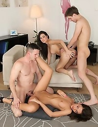 Alexis pussy was too much for Chocky and he exploded covering her pussy in cum but Alexis still wanted more so she joined Jess to get a soaking milky facial from Marcus
