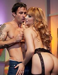 Lea Lexis tells Alan Stafford as she woman handles his big cock.