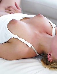 Cum hungry blonde Kate England uses her big areola tits and juicy mouth to seduce her man into a wild bald pussy ride