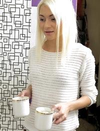 Hot blonde Olivia takes a messy facial
