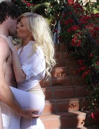 Elaina enjoys her man's cock in the garden.