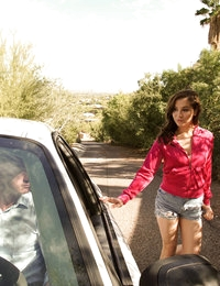 Cute coed Kasey Warner shows her appreciation for the ride with an enthusiastic blowjob and a backseat pussy ride