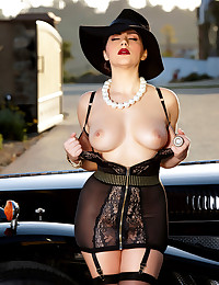 Valentina Nappi loves fingering her pussy sitting from her vintage car