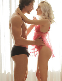 X-Art Girl Naomi Woods looks achingly delicious in her first twosome shoot for us with a guy. Our petite young lady chose pink lingerie to complement her blonde hair and those glorious green eyes. Of course, she looks even more spectacular as she slowly reveals the gloriously naked body of an athlete and former figure skater. Olympic orgasms, anyone?