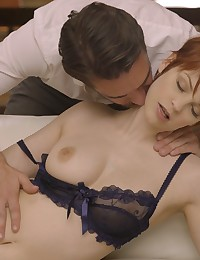 Busty redhead Bree Daniels rocks sheer lingerie to seduce her man into a deep throat blowjob and creamy pussy fuckfest