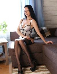 Romantic Felicia taking off her lingerie and masturbating
