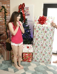 Ember Stone has a Christmas surprise for her boyfriend Damon Dice! She has purchased a Riley Reid doll, the sexiest present a guy could want, and Damon can't wait to unwrap her. Damon and Ember take their time playing with Riley before carrying her to the bed. With her puff nipples, soft boobs, and landing strip pussy, Riley is the Cadillac of sex dolls!Soon Damon is going to town fucking his new toy while Ember puts her fingers to work on her needy clit. When Ember leans forward to give Riley a kiss Christmas miracle happens and she comes to life! Ember takes full advantage, riding Riley's face so her doll can feast on her greedy twat. Then it's Ember's turn to get her pussy pounded as Riley swaps places with her lusty lover.Now that Riley has come to life, the fuck fest that Ember and Damon had planned can be a real threesome instead of a make believe one. Damon won't stop until both of his lovers are satisfied, even going as far as to squirt their pleasure. When he is done playing steed to them he gets his reward with a double blowjob that won't stop until he jizzes into their mouths, the perfect finale for them to snowball together.